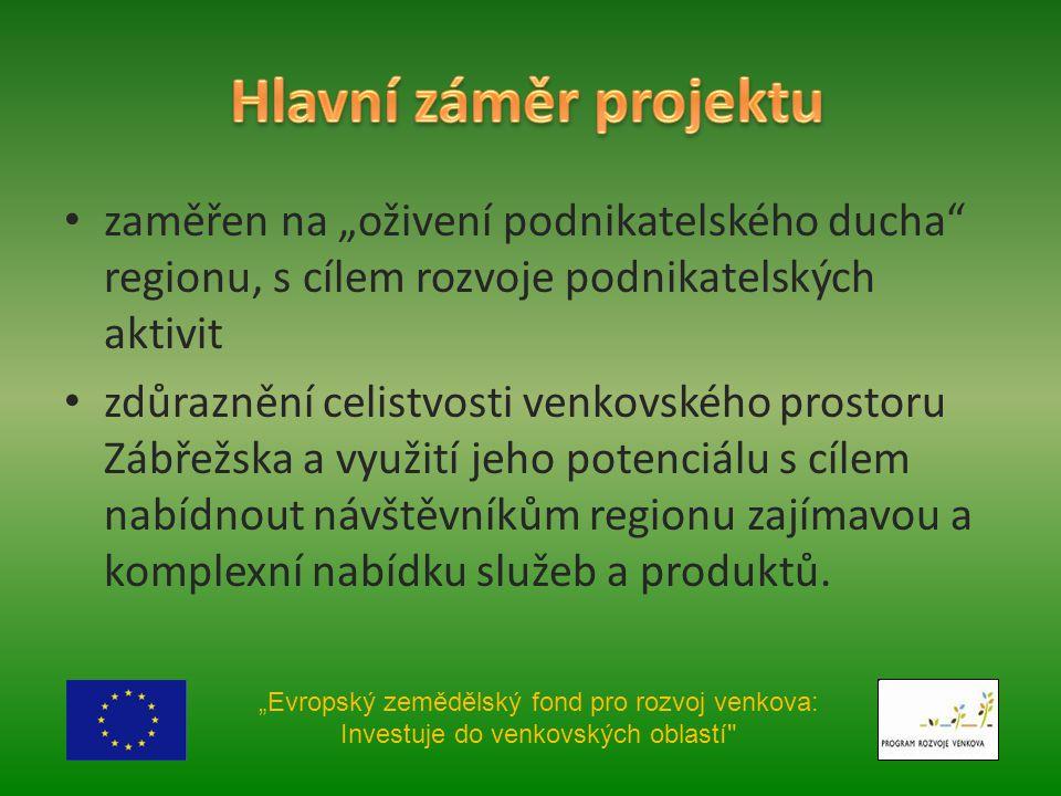 """zaměřen na """"oživení podnikatelského ducha regionu, s cílem rozvoje podnikatelských aktivit zdůraznění celistvosti venkovského prostoru Zábřežska a využití jeho potenciálu s cílem nabídnout návštěvníkům regionu zajímavou a komplexní nabídku služeb a produktů."""