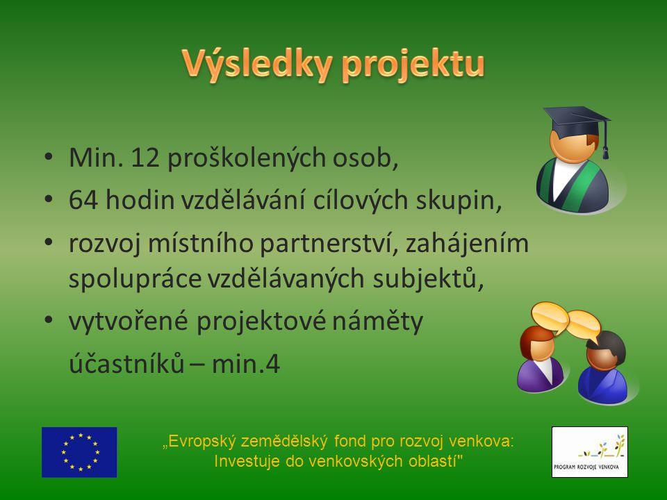 Min. 12 proškolených osob, 64 hodin vzdělávání cílových skupin, rozvoj místního partnerství, zahájením spolupráce vzdělávaných subjektů, vytvořené pro