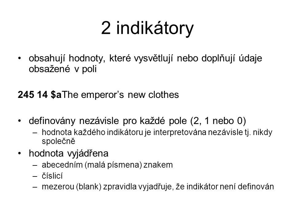 2 indikátory obsahují hodnoty, které vysvětlují nebo doplňují údaje obsažené v poli 245 14 $aThe emperor's new clothes definovány nezávisle pro každé