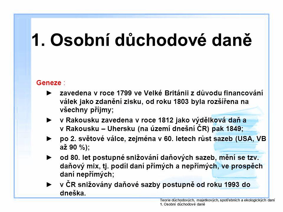 Geneze : ►zavedena v roce 1799 ve Velké Británii z důvodu financování válek jako zdanění zisku, od roku 1803 byla rozšířena na všechny příjmy; ►v Rakousku zavedena v roce 1812 jako výdělková daň a v Rakousku – Uhersku (na území dnešní ČR) pak 1849; ►po 2.