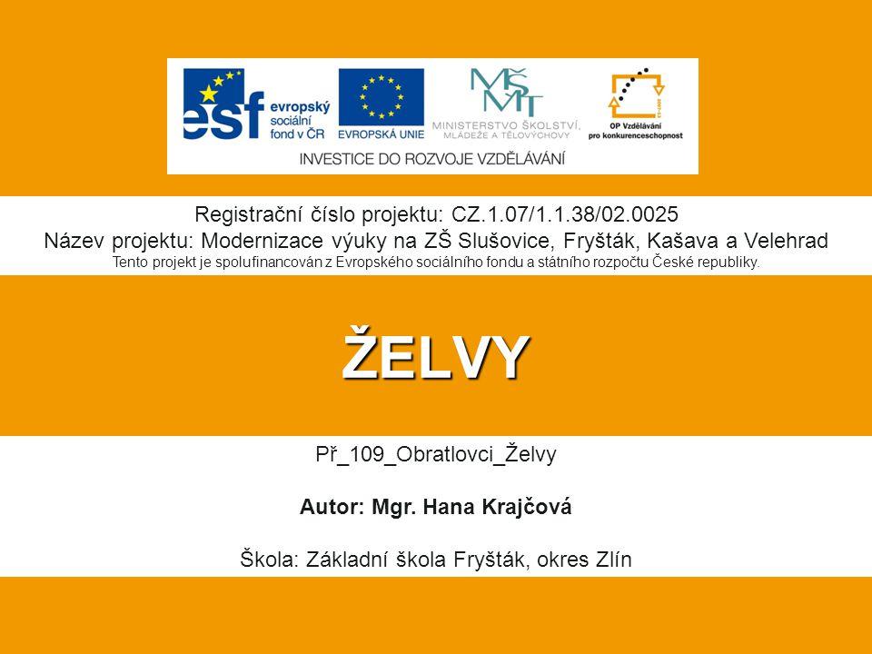 ŽELVY Registrační číslo projektu: CZ.1.07/1.1.38/02.0025 Název projektu: Modernizace výuky na ZŠ Slušovice, Fryšták, Kašava a Velehrad Tento projekt je spolufinancován z Evropského sociálního fondu a státního rozpočtu České republiky.