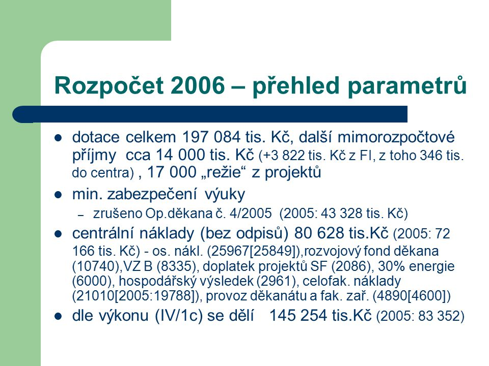 Rozpočet 2006 – přehled parametrů dotace celkem 197 084 tis. Kč, další mimorozpočtové příjmy cca 14 000 tis. Kč (+3 822 tis. Kč z FI, z toho 346 tis.