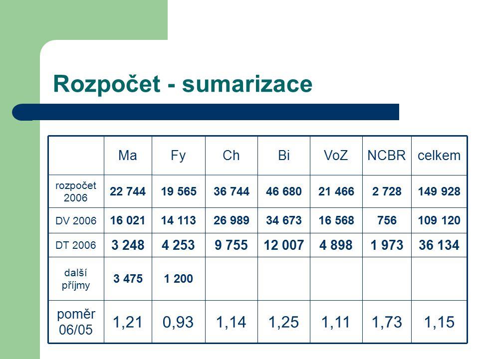 Rozpočet - sumarizace 1,151,731,111,251,140,931,21 poměr 06/05 1 2003 475 další příjmy 109 12075616 56834 67326 98914 11316 021 DV 2006 36 1341 9734 8