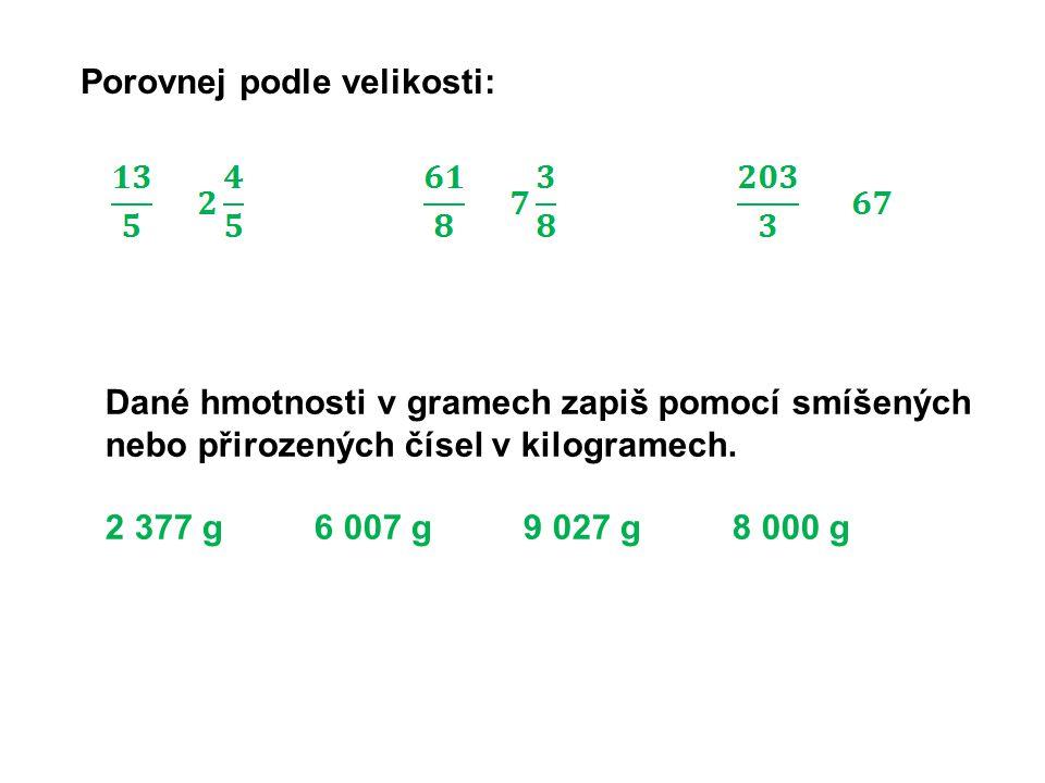 Porovnej podle velikosti: Dané hmotnosti v gramech zapiš pomocí smíšených nebo přirozených čísel v kilogramech. 2 377 g6 007 g9 027 g8 000 g