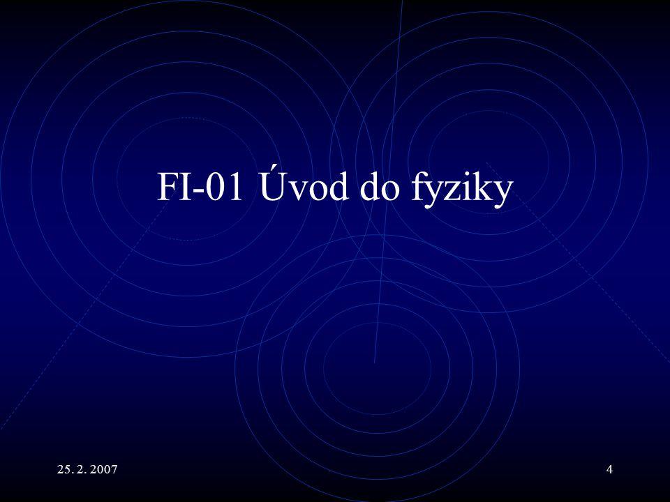 25.2. 20075 Hlavní body Úvod do předmětu. Předmět fyziky.