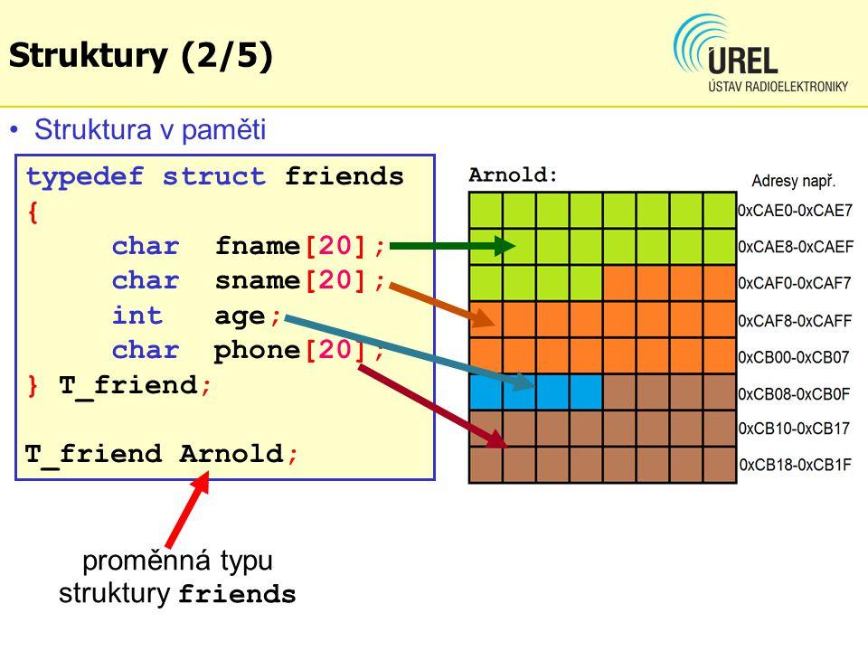 Struktury (2/5) Struktura v paměti typedef struct friends { char fname[20]; char sname[20]; int age; char phone[20]; } T_friend; T_friend Arnold; proměnná typu struktury friends