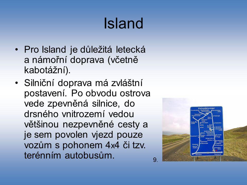 Island Pro Island je důležitá letecká a námořní doprava (včetně kabotážní). Silniční doprava má zvláštní postavení. Po obvodu ostrova vede zpevněná si