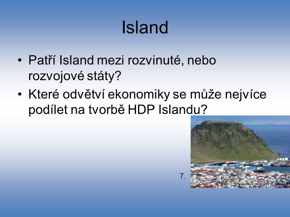 Island Patří Island mezi rozvinuté, nebo rozvojové státy? Které odvětví ekonomiky se může nejvíce podílet na tvorbě HDP Islandu? 7.