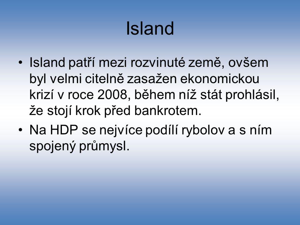 Island Island patří mezi rozvinuté země, ovšem byl velmi citelně zasažen ekonomickou krizí v roce 2008, během níž stát prohlásil, že stojí krok před b