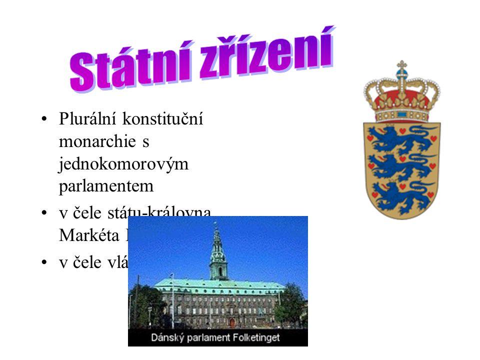 Plurální konstituční monarchie s jednokomorovým parlamentem v čele státu-královna Markéta II.