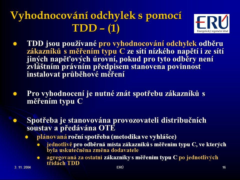 3. 11. 2004ERÚ16 Vyhodnocování odchylek s pomocí TDD – (1) TDD jsou používané pro vyhodnocování odchylek odběru zákazníků s měřením typu C ze sítí níz