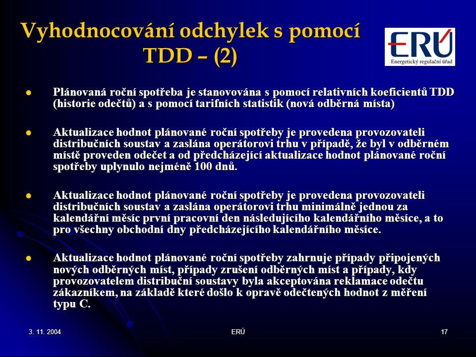 3. 11. 2004ERÚ17 Vyhodnocování odchylek s pomocí TDD – (2) Plánovaná roční spotřeba je stanovována s pomocí relativních koeficientů TDD (historie odeč
