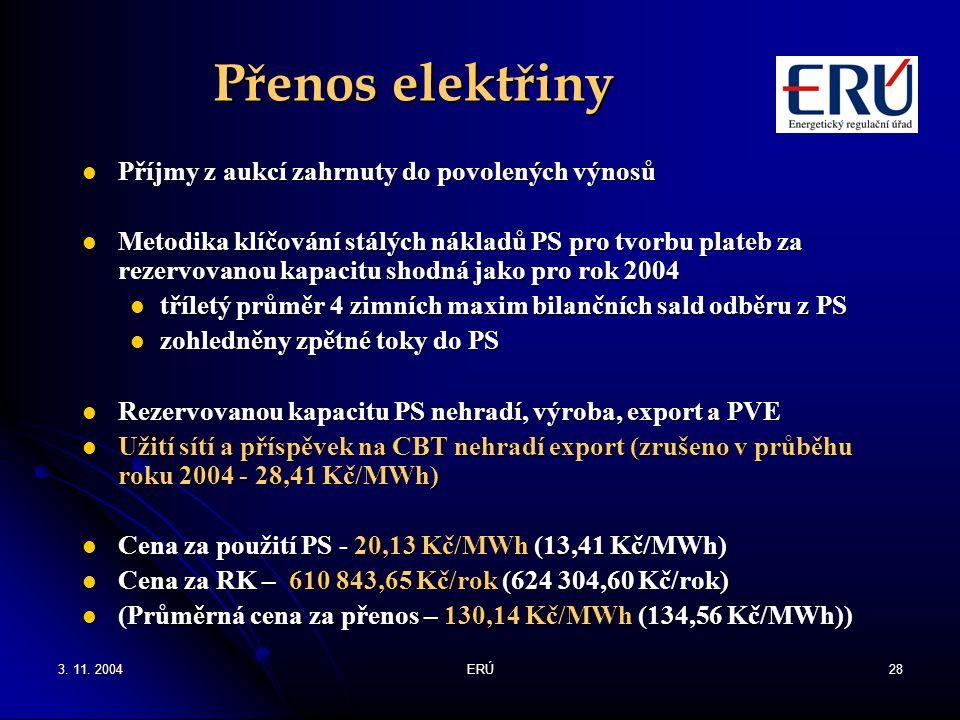 3. 11. 2004ERÚ28 Přenos elektřiny Příjmy z aukcí zahrnuty do povolených výnosů Příjmy z aukcí zahrnuty do povolených výnosů Metodika klíčování stálých