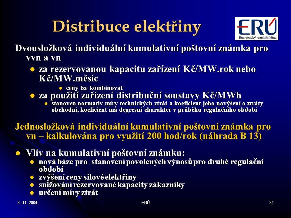 3. 11. 2004ERÚ31 Distribuce elektřiny Dvousložková individuální kumulativní poštovní známka pro vvn a vn za rezervovanou kapacitu zařízení Kč/MW.rok n