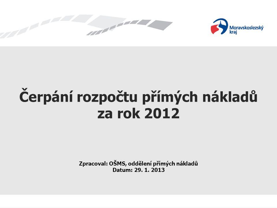 Čerpání rozpočtu přímých nákladů za rok 2012 Zpracoval: OŠMS, oddělení přímých nákladů Datum: 29.