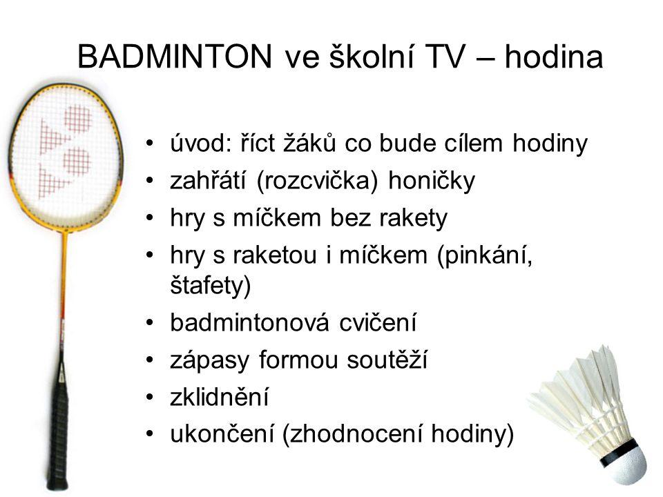 úvod: říct žáků co bude cílem hodiny zahřátí (rozcvička) honičky hry s míčkem bez rakety hry s raketou i míčkem (pinkání, štafety) badmintonová cvičení zápasy formou soutěží zklidnění ukončení (zhodnocení hodiny) BADMINTON ve školní TV – hodina