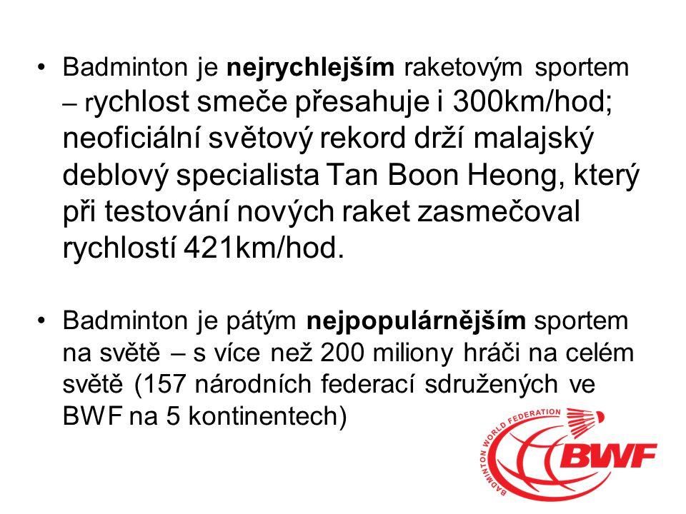 Badminton je nejrychlejším raketovým sportem – r ychlost smeče přesahuje i 300km/hod; neoficiální světový rekord drží malajský deblový specialista Tan Boon Heong, který při testování nových raket zasmečoval rychlostí 421km/hod.