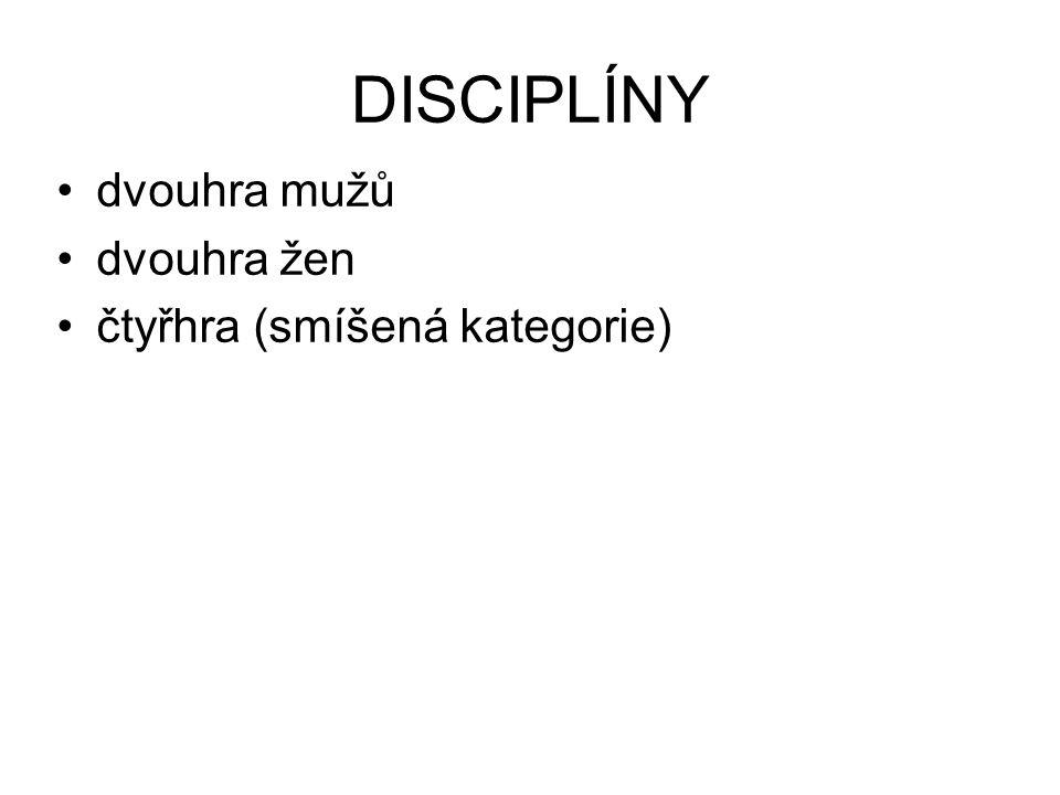 dvouhra mužů dvouhra žen čtyřhra (smíšená kategorie) DISCIPLÍNY