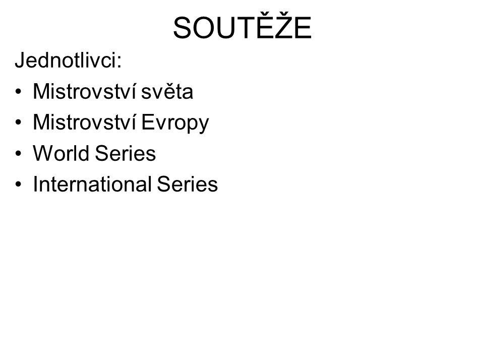 Jednotlivci: Mistrovství světa Mistrovství Evropy World Series International Series SOUTĚŽE