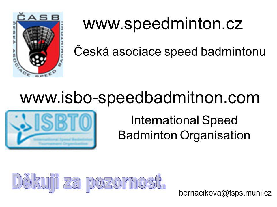 www.speedminton.cz www.isbo-speedbadmitnon.com bernacikova@fsps.muni.cz Česká asociace speed badmintonu International Speed Badminton Organisation