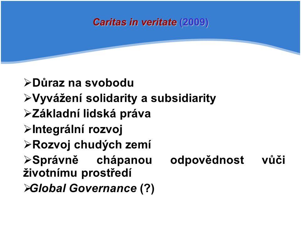  Důraz na svobodu  Vyvážení solidarity a subsidiarity  Základní lidská práva  Integrální rozvoj  Rozvoj chudých zemí  Správně chápanou odpovědnost vůči životnímu prostředí  Global Governance (?) Caritas in veritate (2009)