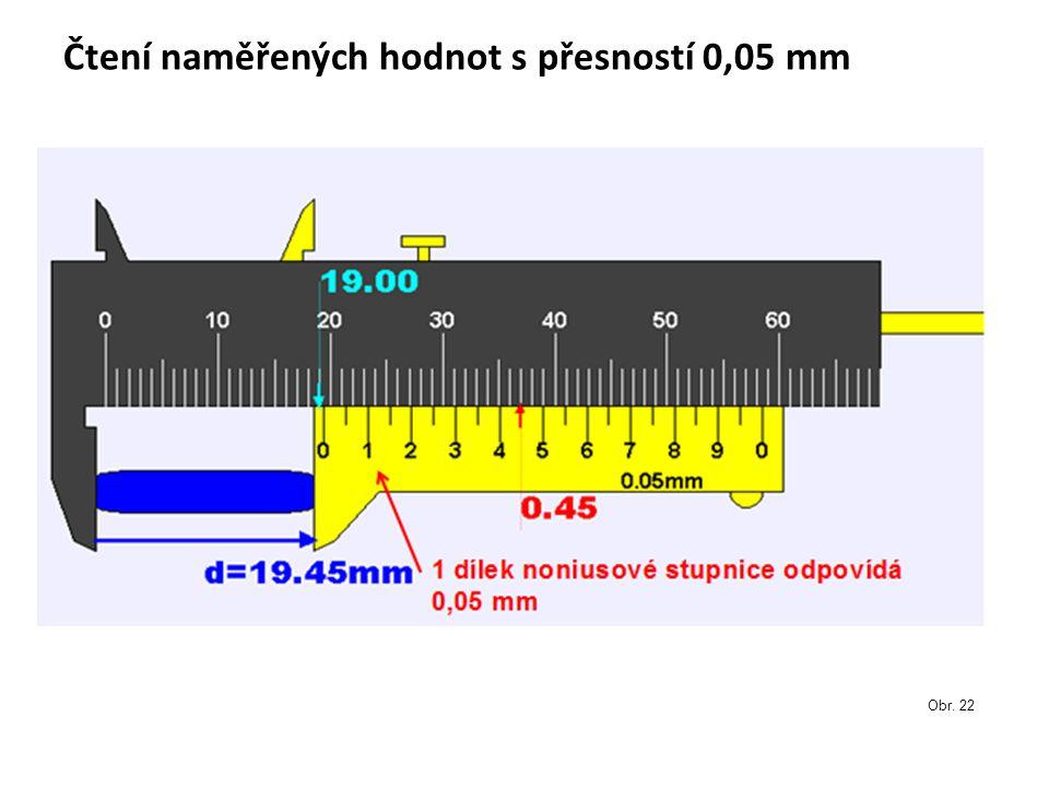 Čtení naměřených hodnot s přesností 0,05 mm Obr. 22