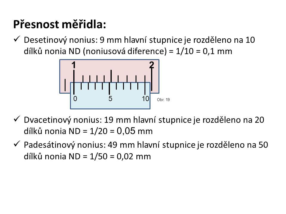 Přesnost měřidla: Desetinový nonius: 9 mm hlavní stupnice je rozděleno na 10 dílků nonia ND (noniusová diference) = 1/10 = 0,1 mm Dvacetinový nonius: 19 mm hlavní stupnice je rozděleno na 20 dílků nonia ND = 1/20 = 0,05 mm Padesátinový nonius: 49 mm hlavní stupnice je rozděleno na 50 dílků nonia ND = 1/50 = 0,02 mm 0510 12 Obr.