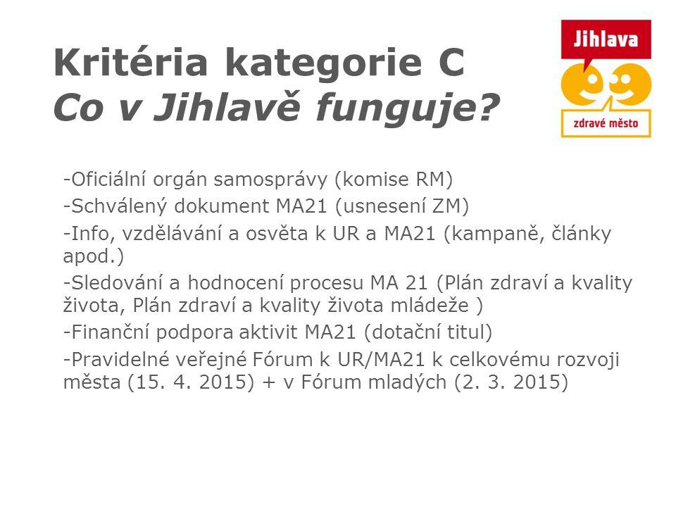 Kritéria kategorie C Co v Jihlavě funguje? -Oficiální orgán samosprávy (komise RM) -Schválený dokument MA21 (usnesení ZM) -Info, vzdělávání a osvěta k