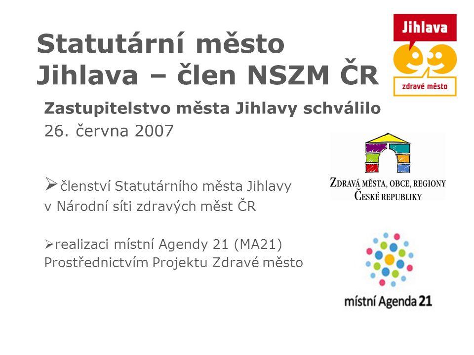 Statutární město Jihlava – člen NSZM ČR Zastupitelstvo města Jihlavy schválilo 26. června 2007  členství Statutárního města Jihlavy v Národní síti zd