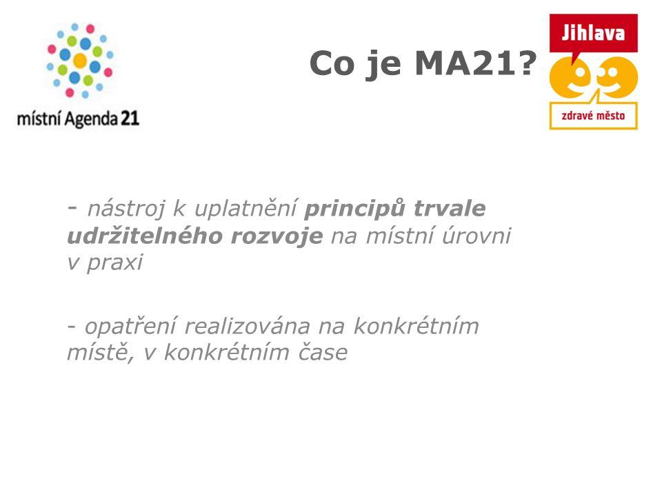 Co je MA21? - nástroj k uplatnění principů trvale udržitelného rozvoje na místní úrovni v praxi - opatření realizována na konkrétním místě, v konkrétn