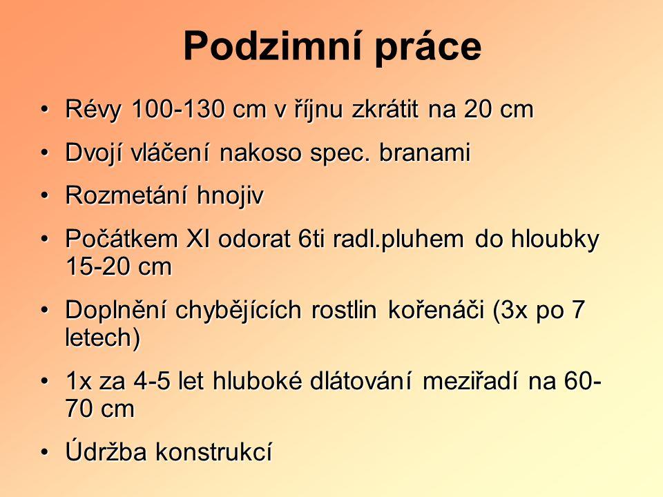 Podzimní práce Révy 100-130 cm v říjnu zkrátit na 20 cmRévy 100-130 cm v říjnu zkrátit na 20 cm Dvojí vláčení nakoso spec. branamiDvojí vláčení nakoso