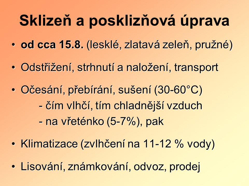 Sklizeň a posklizňová úprava od cca 15.8. (lesklé, zlatavá zeleň, pružné)od cca 15.8. (lesklé, zlatavá zeleň, pružné) Odstřižení, strhnutí a naložení,