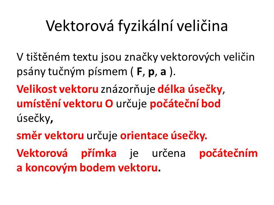 V tištěném textu jsou značky vektorových veličin psány tučným písmem ( F, p, a ).