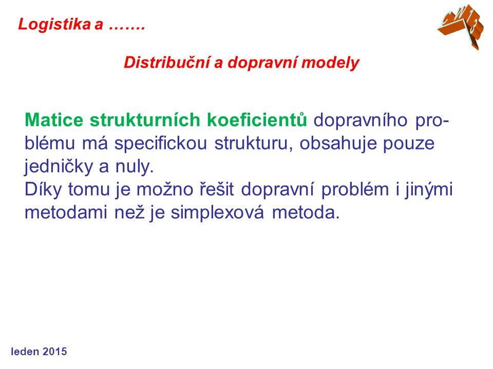 Matice strukturních koeficientů dopravního pro- blému má specifickou strukturu, obsahuje pouze jedničky a nuly. Díky tomu je možno řešit dopravní prob