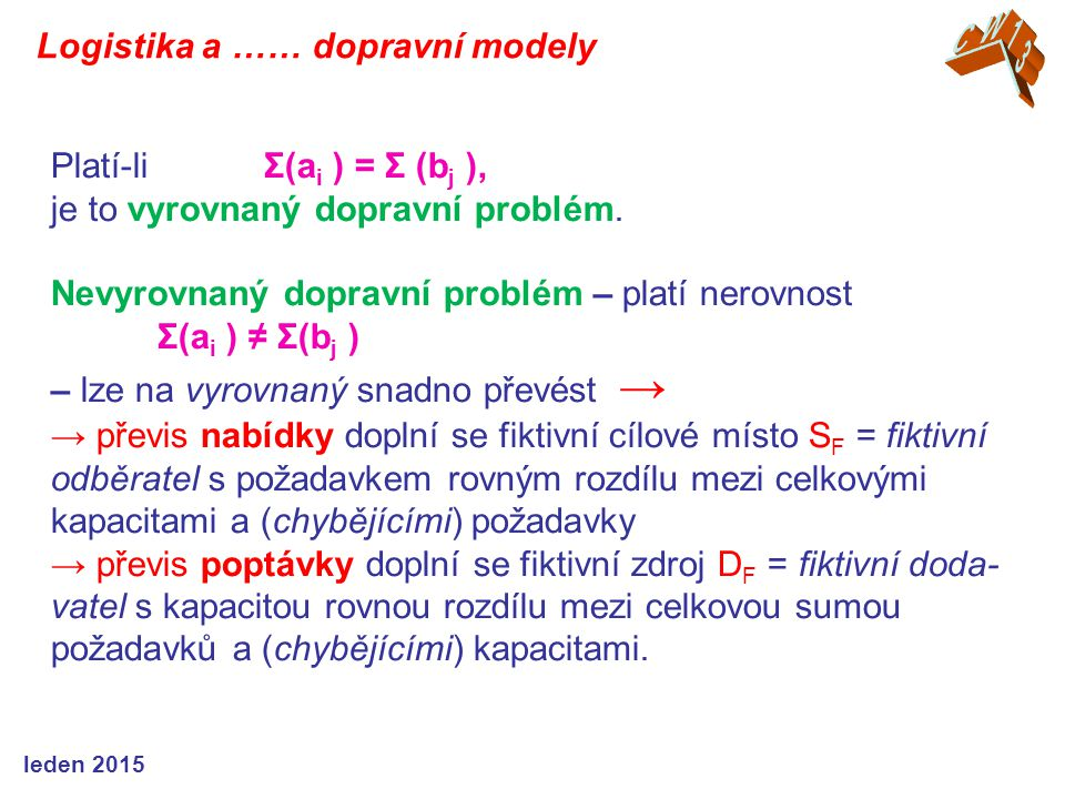 Platí-li Σ(a i ) = Σ (b j ), je to vyrovnaný dopravní problém. Nevyrovnaný dopravní problém – platí nerovnost Σ(a i ) ≠ Σ(b j ) – lze na vyrovnaný sna