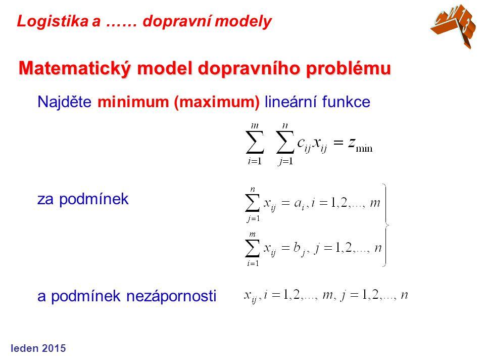 Najděte minimum (maximum) lineární funkce za podmínek a podmínek nezápornosti Matematický model dopravního problému Logistika a …… dopravní modely led