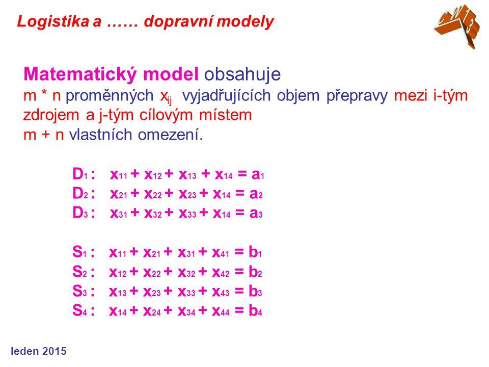 Matematický model obsahuje m * n proměnných x ij vyjadřujících objem přepravy mezi i-tým zdrojem a j-tým cílovým místem m + n vlastních omezení. D 1 :