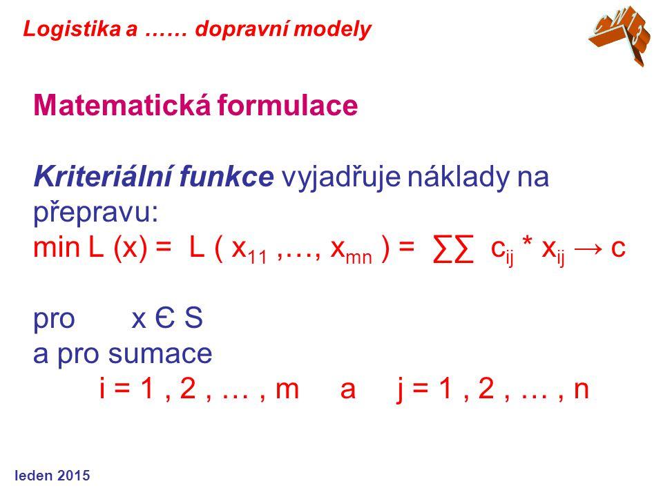 Matematická formulace Kriteriální funkce vyjadřuje náklady na přepravu: min L (x) = L ( x 11,…, x mn ) = ∑∑ c ij * x ij → c pro x Є S a pro sumace i =