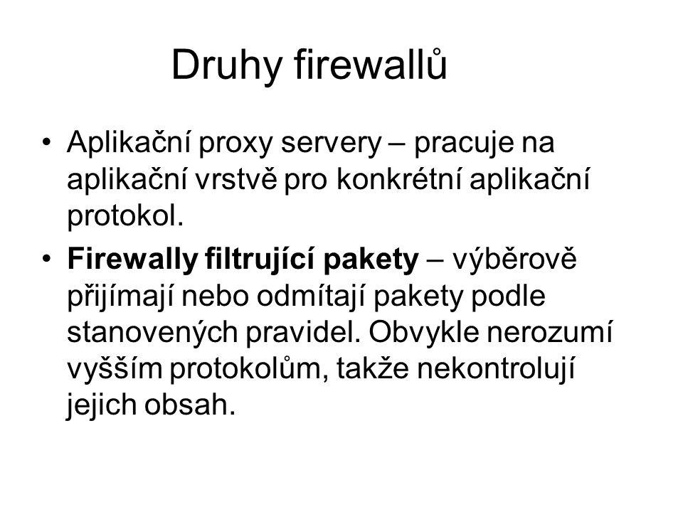 Druhy firewallů Aplikační proxy servery – pracuje na aplikační vrstvě pro konkrétní aplikační protokol. Firewally filtrující pakety – výběrově přijíma