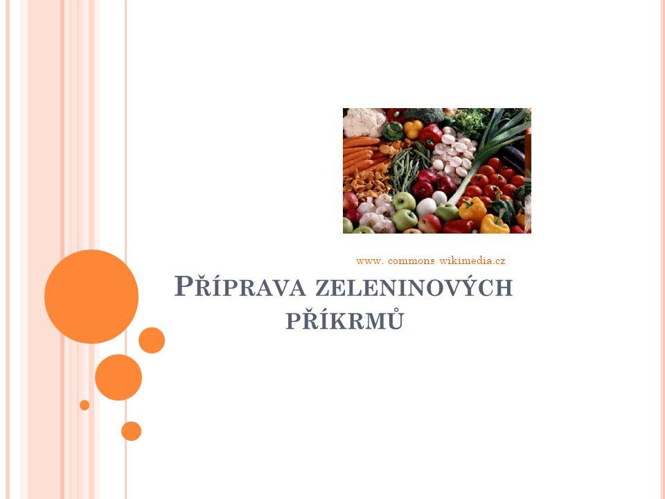 P ŘÍPRAVA ZELENINOVÝCH PŘÍKRMŮ Zadělávané zeleninové pokrmy: příprava zeleniny vařené nebo dušené zahuštějeme jíškou, bešamele,velouté legírujeme (zjemňujeme) mlékem, smetanou, máslem dochucujeme: muškátovým oříškem, pepř bílý, zelené natě( petrželová nať,pažitka,kopr) www.