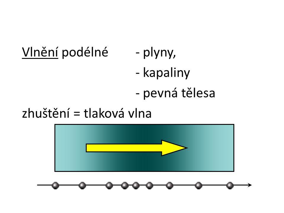 Vlnění podélné- plyny, - kapaliny - pevná tělesa zhuštění = tlaková vlna