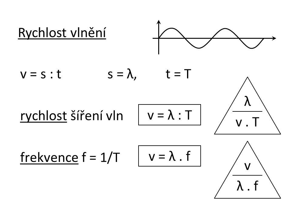 v = s : ts = λ,t = T rychlost šíření vln frekvence f = 1/T v = λ : T v = λ.