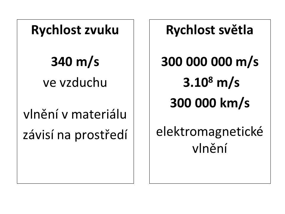 Rychlost zvuku 340 m/s ve vzduchu vlnění v materiálu závisí na prostředí Rychlost světla 300 000 000 m/s 3.10 8 m/s 300 000 km/s elektromagnetické vlnění