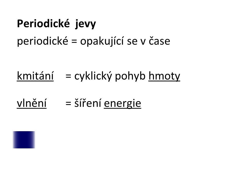 Periodické jevy periodické = opakující se v čase kmitání= cyklický pohyb hmoty vlnění= šíření energie