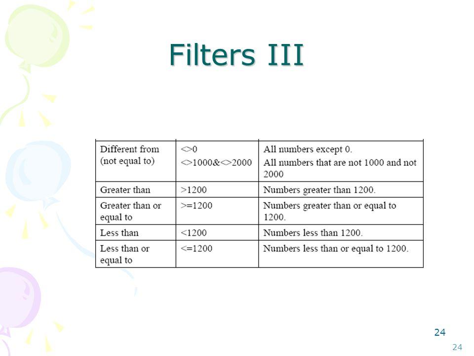 23 Filters II