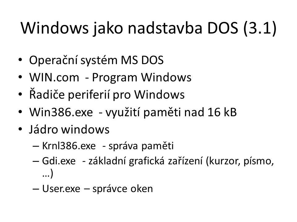 Operační systém MS DOS WIN.com - Program Windows Řadiče periferií pro Windows Win386.exe - využití paměti nad 16 kB Jádro windows – Krnl386.exe - správa paměti – Gdi.exe - základní grafická zařízení (kurzor, písmo, …) – User.exe – správce oken