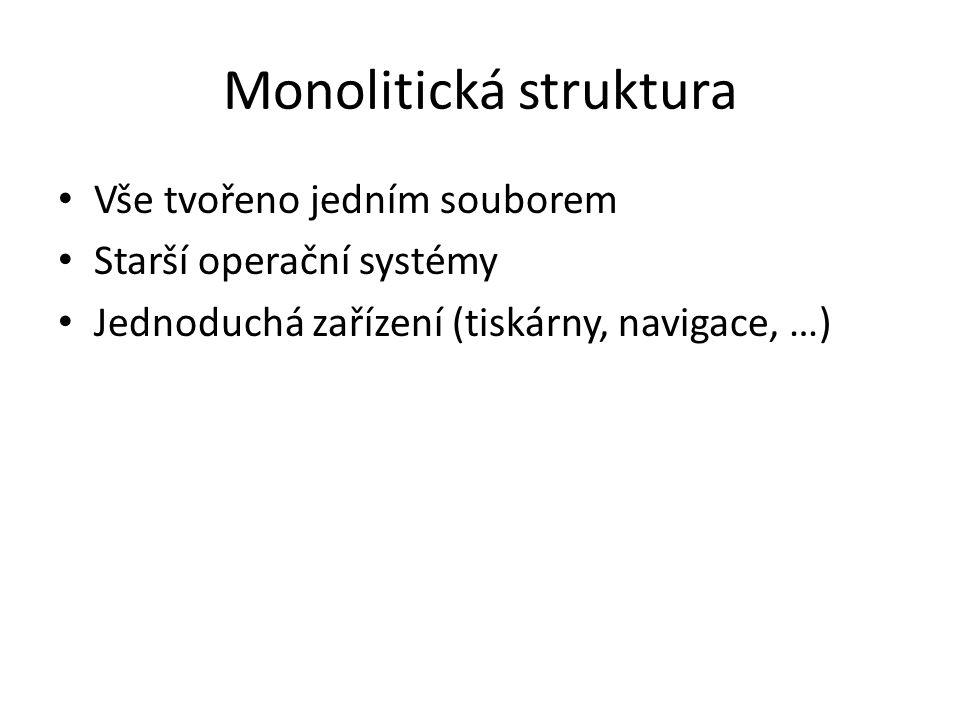 Monolitická struktura Vše tvořeno jedním souborem Starší operační systémy Jednoduchá zařízení (tiskárny, navigace, …)