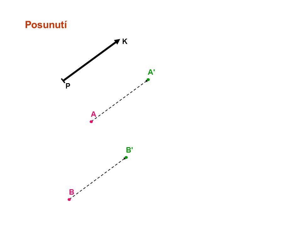 Posunutí P K Samodružné přímky Samodružné jsou všechny přímky rovnoběžné se směrem posunutí.