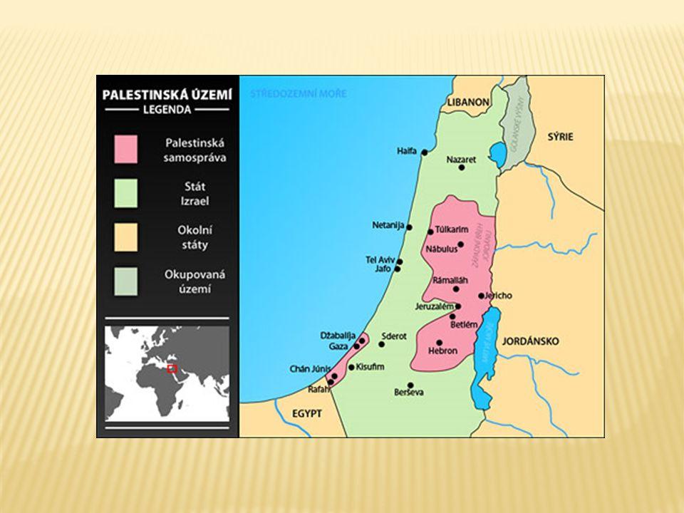 PALESTINSKÁ SAMOSPRÁVASTÁT IZRAEL  Hlavní město: vedení Palestinské samosprávy sídlí v Ramalláhu (arab.