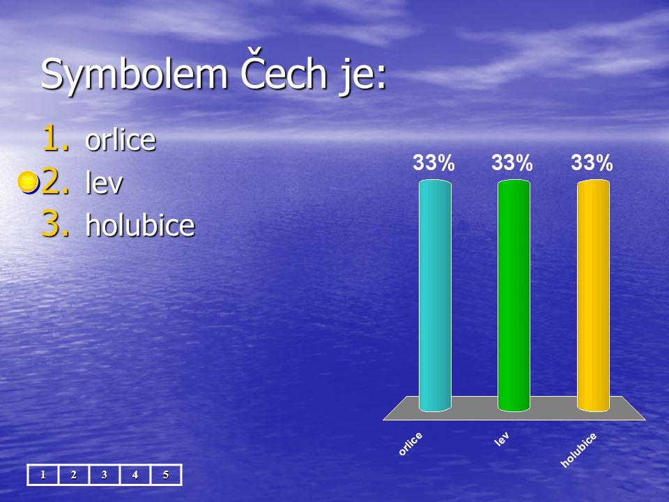 Symbolem Čech je: 12345 1. orlice 2. lev 3. holubice